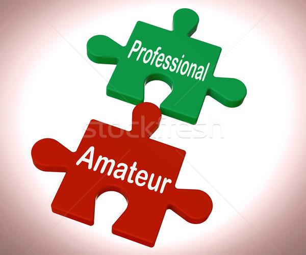 Profi amatőr puzzle szakértő gyakornok mutat Stock fotó © stuartmiles