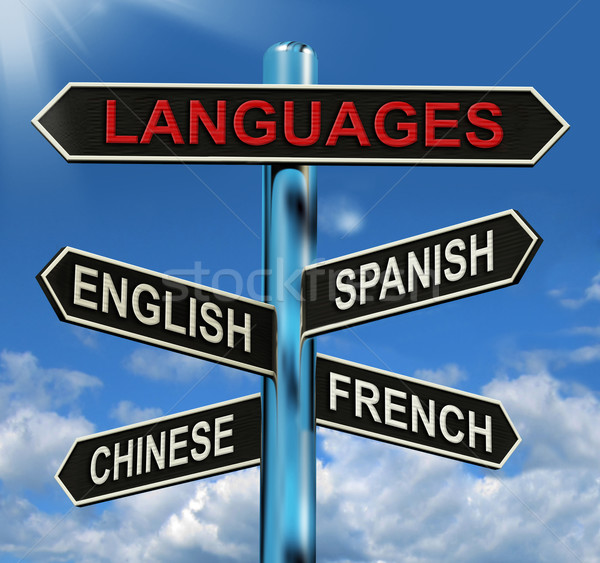 Languages Signpost Means English Chinese Spanish And French Stock photo © stuartmiles