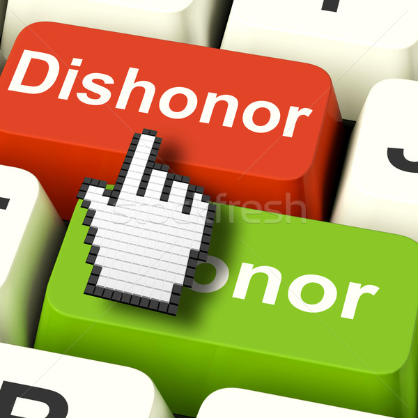 Dishonor Honor Computer Shows Integrity And Morals Stock photo © stuartmiles