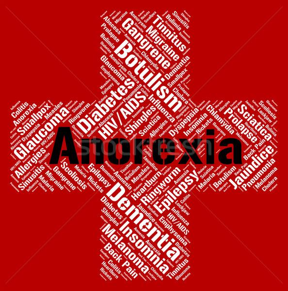 Anorexia woord voedsel kwaal tonen ziek Stockfoto © stuartmiles