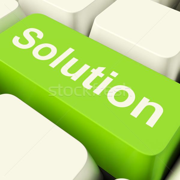Stock fotó: Megoldás · számítógép · kulcs · zöld · mutat · siker