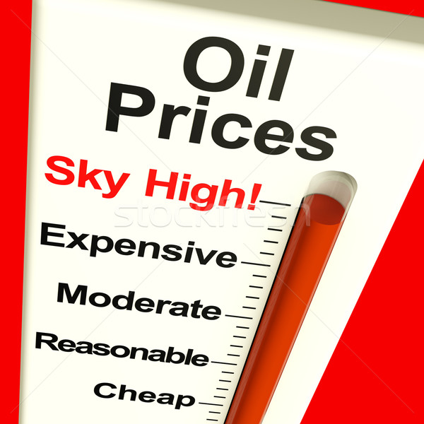 Oil Prices High Monitor Showing Expensive Fuel Costs Stock photo © stuartmiles