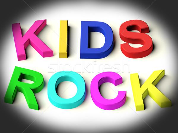 Briefe Rechtschreibung Kinder rock Symbol Kindheit Stock foto © stuartmiles