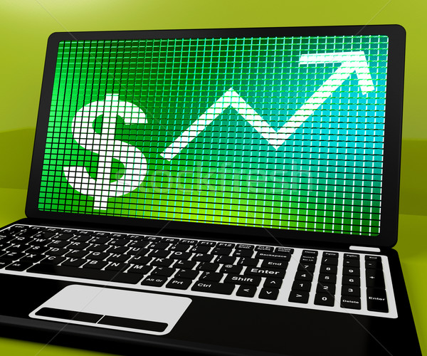 Stock photo: Dollar Sign And Up Arrow On Laptop For Earnings Or Profit
