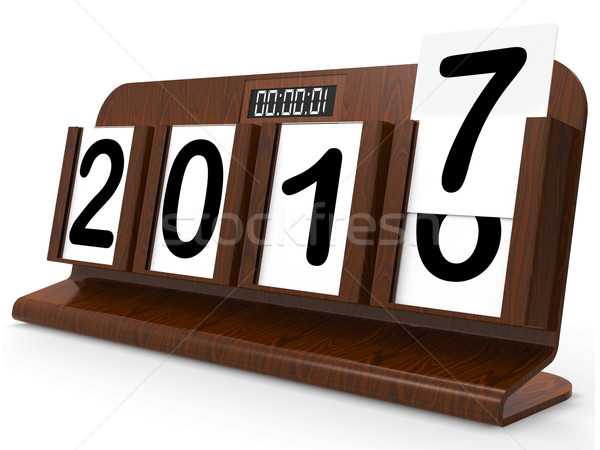 Secretária calendário ano dois mil dezessete Foto stock © stuartmiles