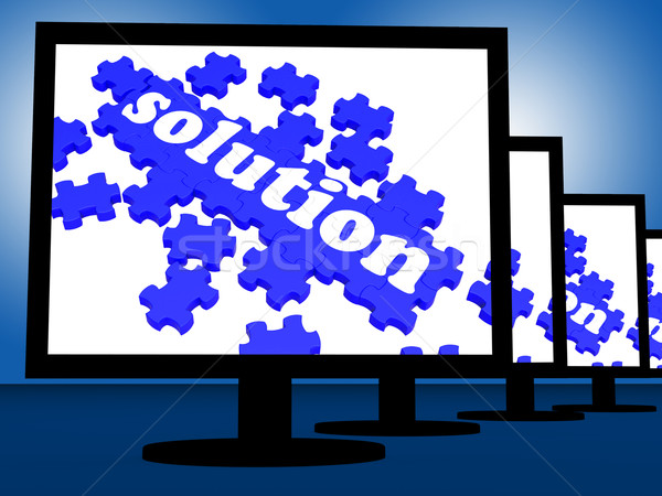 Solution On Monitors Shows Solving Problems And Achieving Result Stock photo © stuartmiles