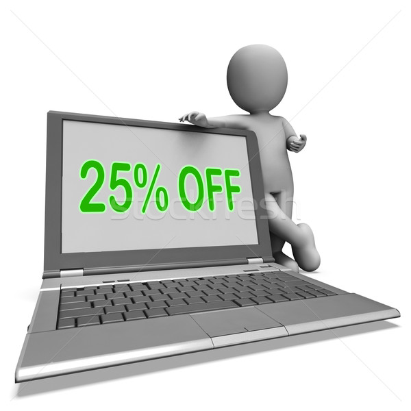Twenty Five Percent Off Monitor Means Deduction Or Sale Online Stock photo © stuartmiles