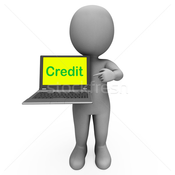 Kredit laptop karakter finanszírozás mutat internet Stock fotó © stuartmiles