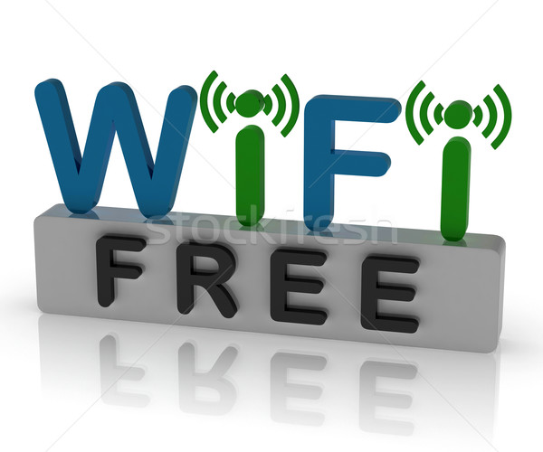 Free Wifi Shows Internet Connection And Mobile Hotspot Stock photo © stuartmiles