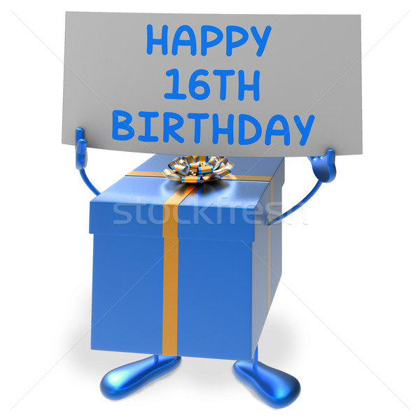 Happy 16th Birthday Sign and Gift Show Sixteenth Party Stock photo © stuartmiles