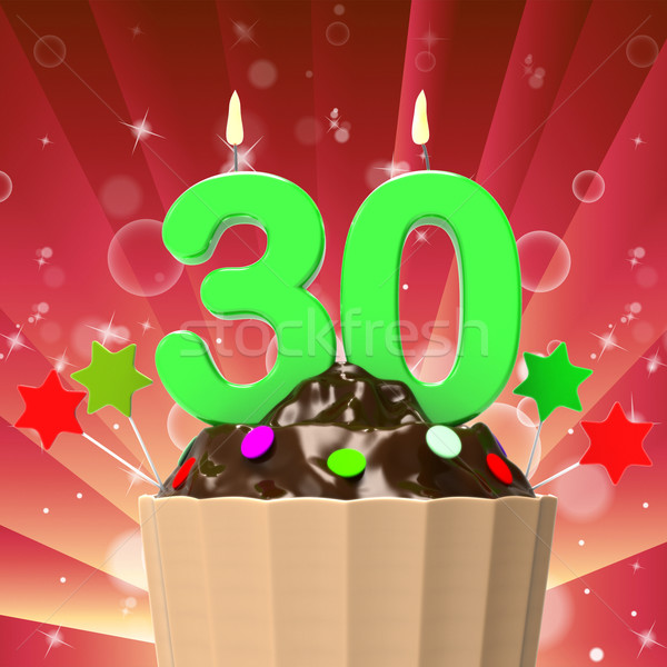Thirty Candle On Cupcake Means Colourful Party Or Decorated Cake Stock photo © stuartmiles