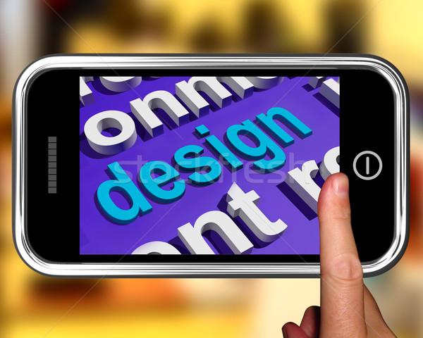 Design In Word Cloud Phone Shows Creative Artistic Designing Stock photo © stuartmiles