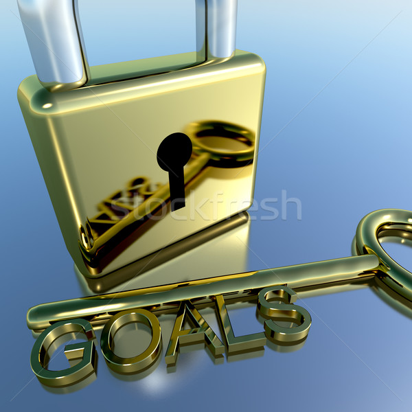 Padlock With Goals Key Showing Objectives Hope And Future Stock photo © stuartmiles