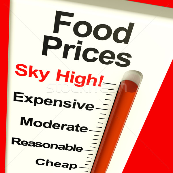 Food Prices High Monitor Showing Expensive Grocery Costs Stock photo © stuartmiles