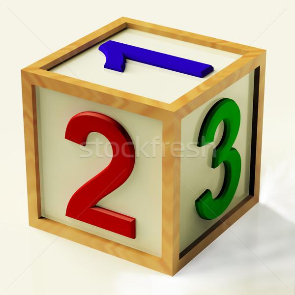 Stockfoto: Kinderen · aantal · symbool · houten · hout · school