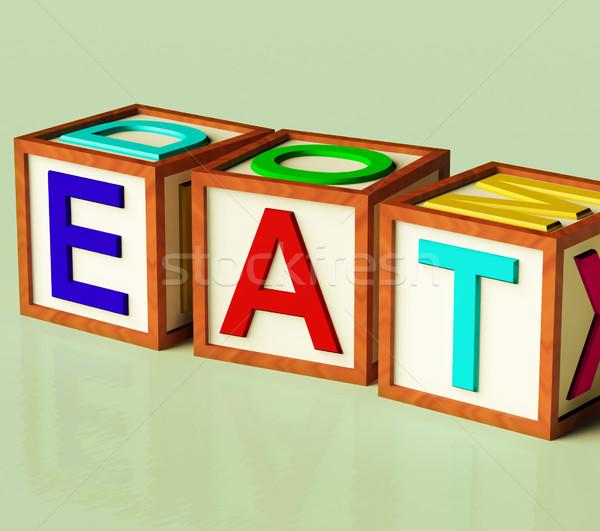 блоки правописание есть символ еды диета Сток-фото © stuartmiles