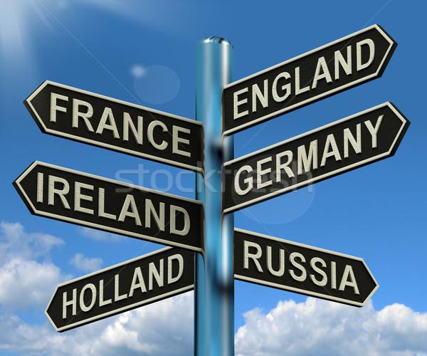 Stock fotó: Anglia · Franciaország · Németország · Írország · útjelző · tábla · mutat