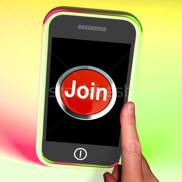 Knop mobiele abonnement registratie tonen telefoon Stockfoto © stuartmiles