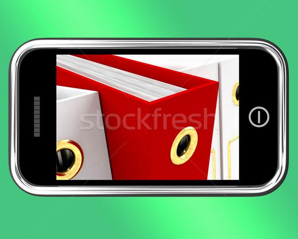 Okostelefon piros akta előadás szervez adat Stock fotó © stuartmiles