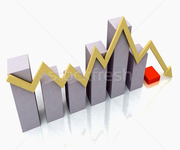 Gráfico de barras amarillo beneficio línea presupuesto Foto stock © stuartmiles