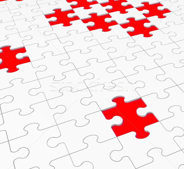 Quebra-cabeça perdido trabalho em equipe conexão solução Foto stock © stuartmiles