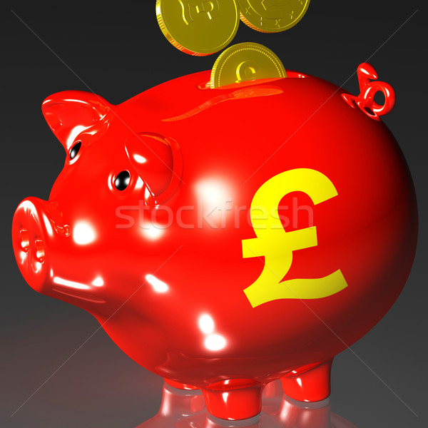 Coins Entering Piggybank Showing British Investing Stock photo © stuartmiles
