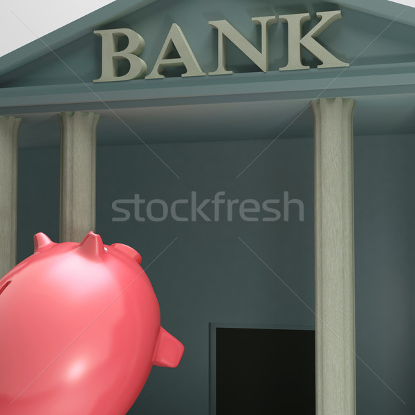 Piggybank Entering Bank Showing Monetary Lift Stock photo © stuartmiles