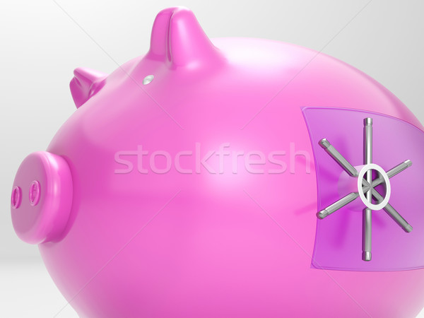 Safe Piggy Shows Money Savings Bank Protected Stock photo © stuartmiles