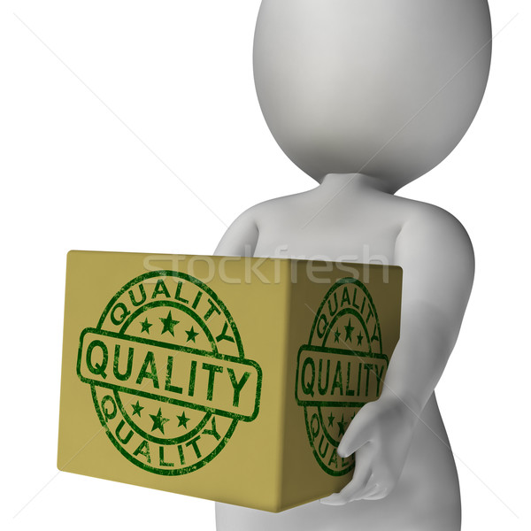 Stock photo: Quality Stamp On Box Shows Excellent Superior Premium Product