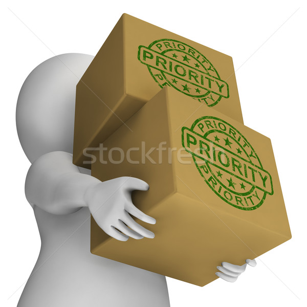 Priority Stamp On Boxes Shows Rush And Urgent Services Stock photo © stuartmiles
