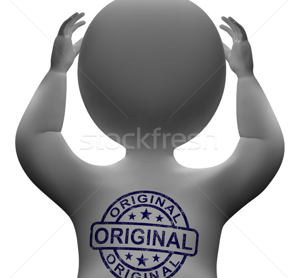 Original Stamp On Man Shows Genuine Authentic Products Stock photo © stuartmiles