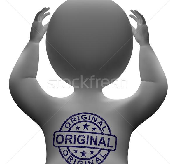 Stock fotó: Eredeti · bélyeg · férfi · eredeti · autentikus · termékek