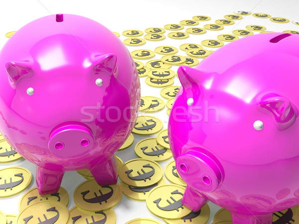 Piggybanks On Euro Coins Showing European Savings Stock photo © stuartmiles