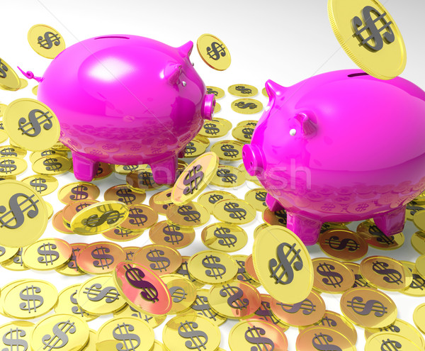 Piggybanks On Coins Showing American Banking Stock photo © stuartmiles