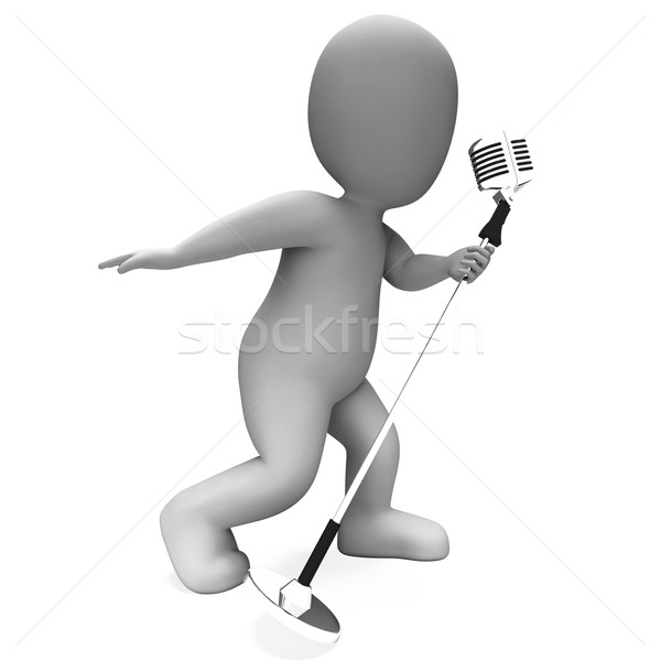 Singer Performing Shows Musical Song Or Karaoke Microphone Conce Stock photo © stuartmiles