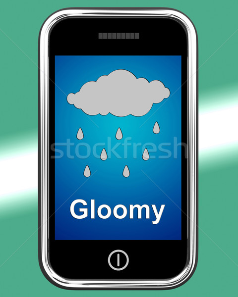 Gloomy On Phone Shows Dark Grey Miserable Weather Stock photo © stuartmiles