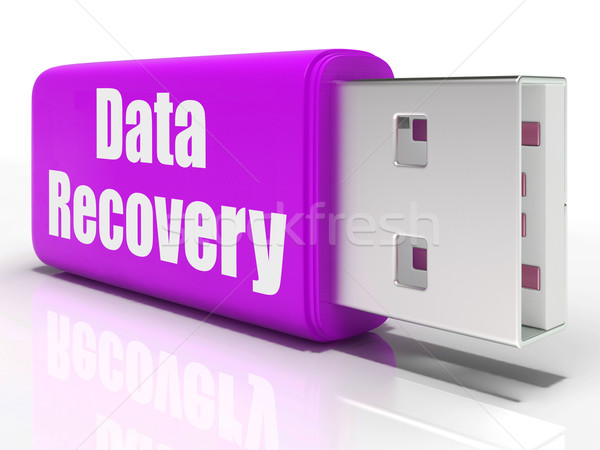 Stock photo: Data Recovery Pen drive Means Convenient Backup Or Data Restorat