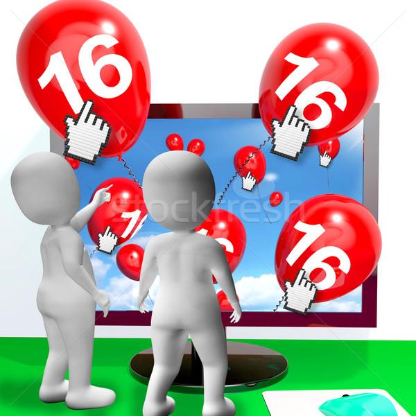 Numero 16 palloncini monitor show internet Foto d'archivio © stuartmiles