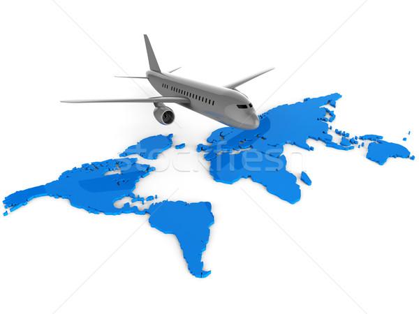 Világszerte repülőjáratok weboldal repülőgép globális földgömb Stock fotó © stuartmiles