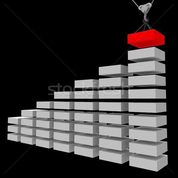 Increase Graph Construction Indicates Infochart Profit And Prope Stock photo © stuartmiles