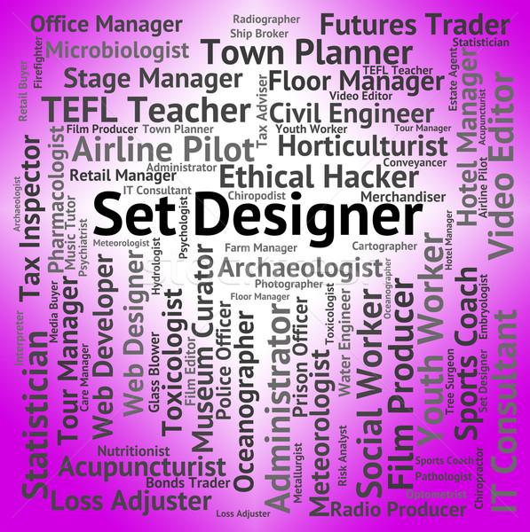 Set Designer Shows Designs Words And Employee Stock photo © stuartmiles