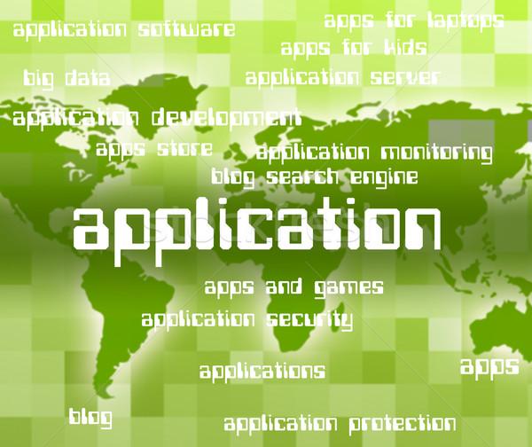 Aplicação palavra software de computador informática significado computador Foto stock © stuartmiles