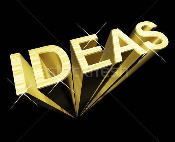 ötletek szöveg arany 3D szimbólum adatbázis Stock fotó © stuartmiles