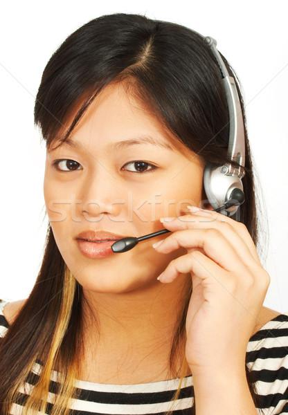 Telemarketing kadın konuşma kulaklık müşteri Stok fotoğraf © stuartmiles