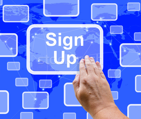 Sign Up Button On Blue Showing Subscription And Registration Stock photo © stuartmiles
