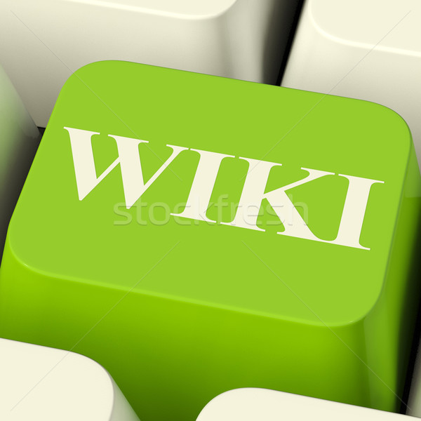 Wiki ordinateur clé ligne informations encyclopédie Photo stock © stuartmiles