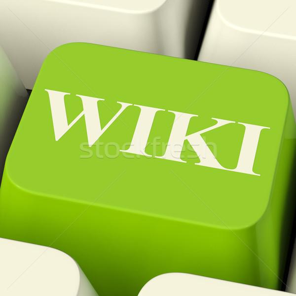 Wiki Computer Key For Online Information Or Encyclopedia Stock photo © stuartmiles