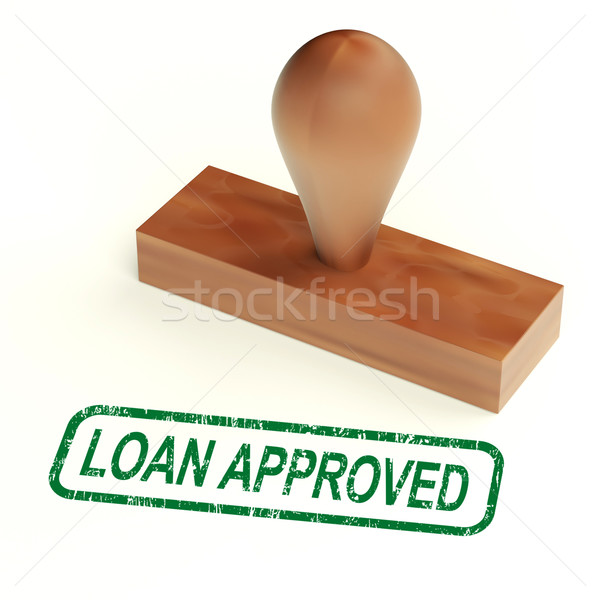 Stock photo: Loan Approved Rubber Stamp Shows Credit Borrowing Ok