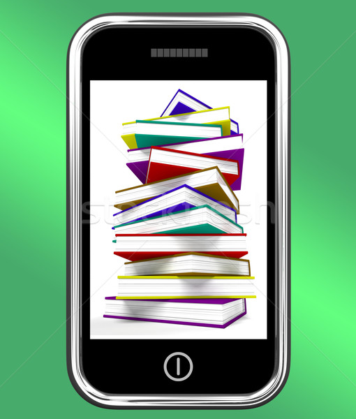 Mobile Phone With Books Shows Online Knowledge Stock photo © stuartmiles