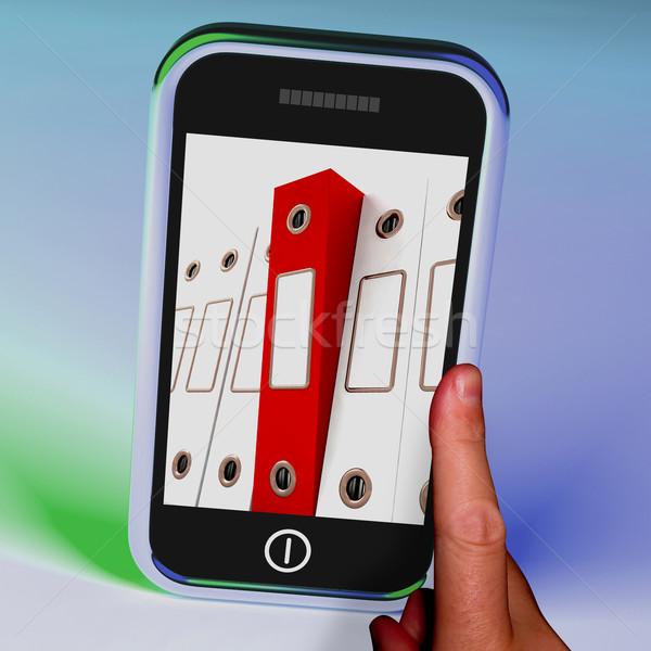Mobiltelefon akták előadás szervez adat mutat Stock fotó © stuartmiles